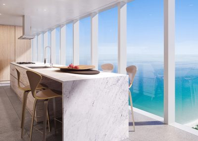 3D rendering sample of a kitchen design at 2000 Ocean condo.