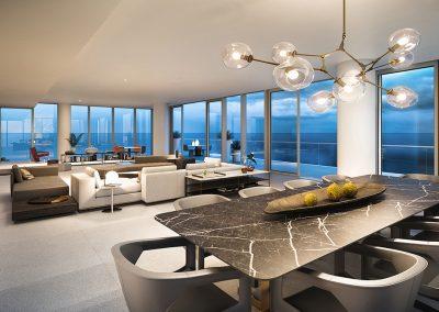 3D rendering sample of a dining room design at 2000 Ocean condo.