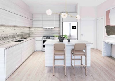 3D rendering sample of a kitchen design at Arbor Residences Miami condo.