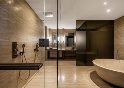 Photograph of a large bathroom at Arte Surfside condo.