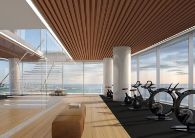 3D rendering sample of the gym design at Aston Martin Residences.