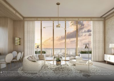 3D rendering sample of a white living room design at Elysee condo.
