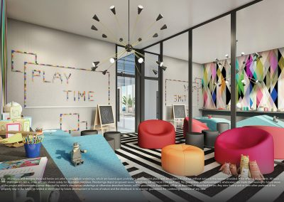 3D rendering sample of the children's playroom design at Elysee condo.