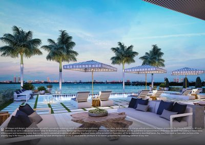 3D rendering sample of the pool cabana design at Elysee condo.
