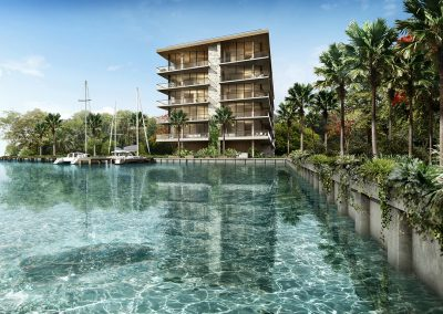 3D rendering sample of The Fairchild Coconut Grove condo.