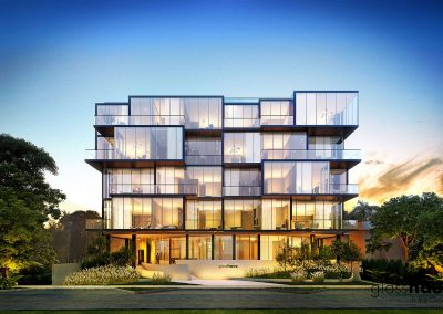 3D rendering sample of GlassHaus condo at dusk.