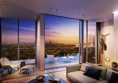 3D rendering sample of a living room and terrace at GlassHaus condo.