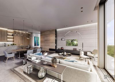 3D rendering sample of a living room and kitchen design at GlassHaus condo.