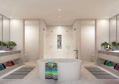 3D rendering sample of a large modern bathroom design at Missoni Baia condo.