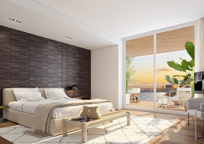 3D rendering sample of a bedroom at Monaco Yacht Club & Residences.