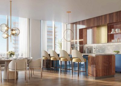 3D rendering sample of a nautical themed kitchen design at Mr. C Residences condo.