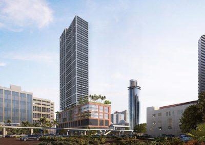 3D rendering sample of the building design for Natiivo Miami condo.
