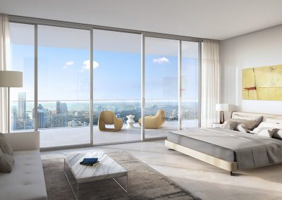 3D rendering sample of a large, modern bedroom design at One River Point condo.