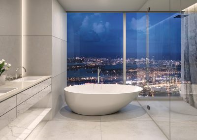 3D rendering sample of a modern bathroom design at One River Point condo.
