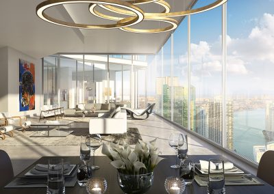 3D rendering sample of a dining room and living design at One River Point condo.