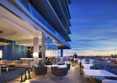 3D rendering sample of the clubroom terrace at Turnberry Ocean Club condo.