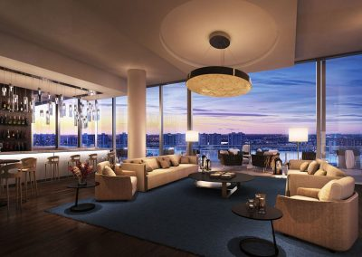3D rendering sample of the clubroom at Turnberry Ocean Club condo.