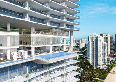 3D rendering sample of the pool deck at Turnberry Ocean Club condo at daytime.