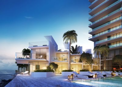 3D rendering sample of the pool deck at Turnberry Ocean Club condo at night.