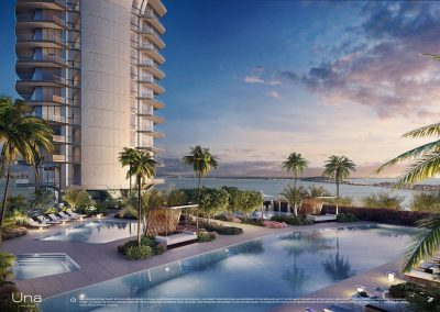 3D rendering sample of the pool deck design at Una Residences condo.