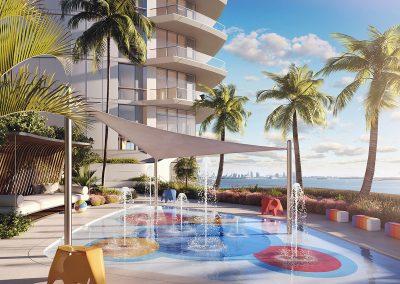 3D rendering sample of the children's splash pool design at Una Residences condo.